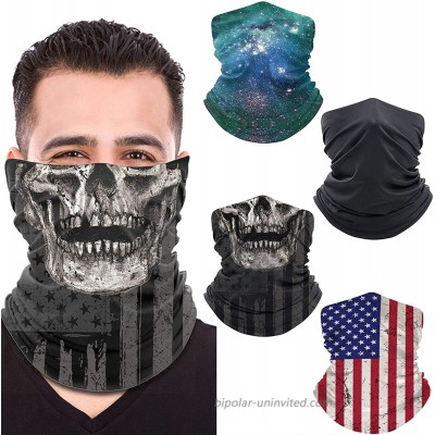 Unisex Neck Gaiter 4 Pack Face Mask ElasticBalaclava Face Scarffor Men and Women Gift with 2 Christmas Bonus Red at  Men's Clothing store