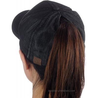 C.C Ponycap Messy High Bun Ponytail Adjustable Cotton Baseball Cap Hat Black Denim at  Women's Clothing store