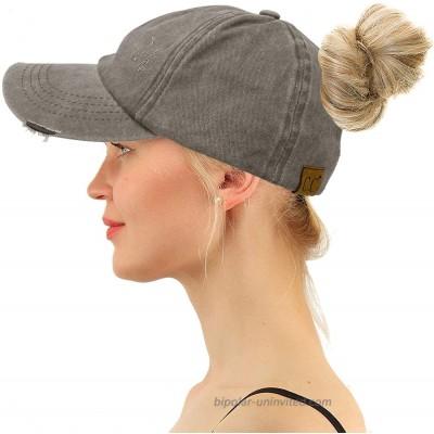 C.C Ponytail Ladder Messy Buns Ponycaps Baseball Visor Cap Dad Hat Distressed Gray at  Women's Clothing store