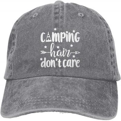Happy Camper Hat Unisex Baseball Caps Camping Hair Don't Care Denim Dad Hat Printed Summer Adjustable Camping Hat