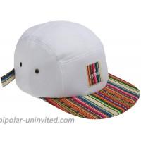 inpireco Men's Incan Fabric 5 Panel hat White at  Men's Clothing store