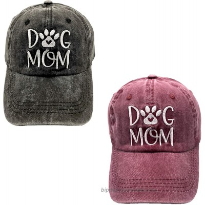 LOKIDVE 2 Pack Embroidered Dog Mom Baseball Cap Distressed Dad Hat for Pet Lover at  Women's Clothing store