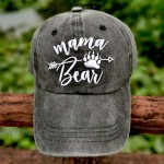LOKIDVE 2 Pack Mama Bear Ponytail Hat Embroidered Mom Life Messy High Bun Distressed Baseball Cap at Women's Clothing store