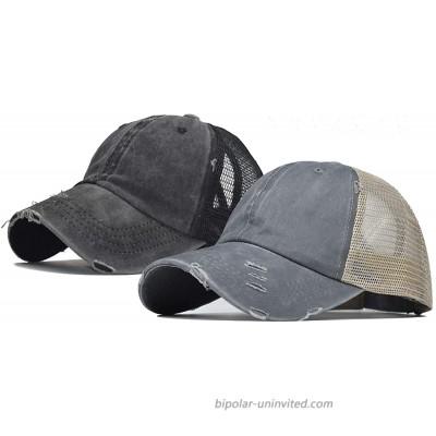 Women Distressed-Ponytail Baseball-Sun-Hat Messy-High-Bun with Ponytail-Hole Black+Grey 2pcs at  Women's Clothing store