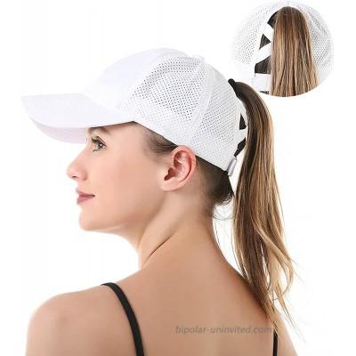 WomenQuick-DryPonytailBaseball-CapSummerMeshCriss-CrossBaseball-Hat White Medium Numeric_7_and_1_Quarter at  Women's Clothing store
