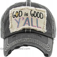 Women's God is Good Y'all Vintage Baseball Hat Cap Black at  Women's Clothing store