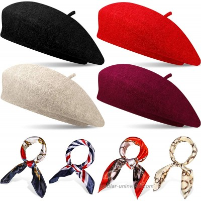 4 Sets French Beret Hat for Women Wool Beret Hat with Square Satin Neck Scarf Beret Beanie Hats 19.7 x 19.7 Inches Neck Head Scarf for Women at  Women's Clothing store