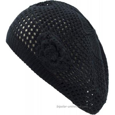 an Womens Crochet Flower Beanie Hats Lightweight Cutout Knit Beret Fashion Cap One Size 5110F-Black at  Women's Clothing store