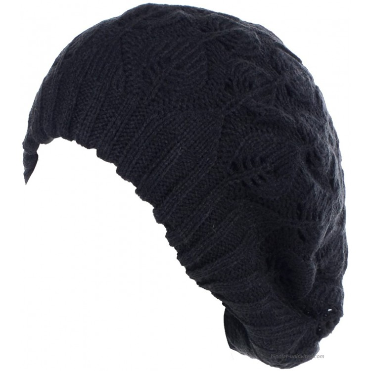 BYOS Winter Chic Leafy Cutout Crochet Knit Slouchy Beret Beanie Hat Double Layers Black at Women's Clothing store