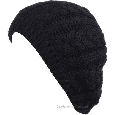 BYOS Women's Winter Fleece Lined Urban Boho Slouchy Cable Knit Beret Beanie Hat at  Women's Clothing store