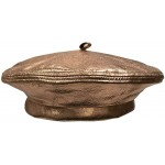 Emstate Winner Caps Unisex Cowhide Leather Beret Made in USA Metallic Copper Bronze at Women's Clothing store