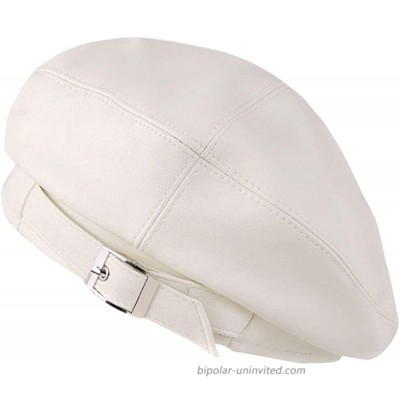 KENNEDY US Faux Leather Solid Military Beret Hat for Women Girls Retro Style British Beanie Hat Cap White at  Women's Clothing store