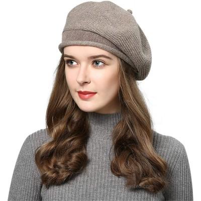 Knit French Beret Women Solid - Color Paris Artist Cap Beanie Classic Retro Hat Khaki at  Women's Clothing store