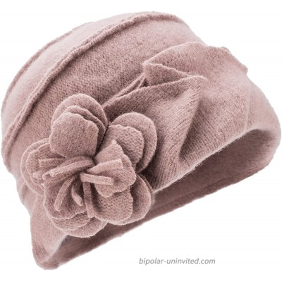 Lawliet Solid Color 1920s Womens 100% Wool Flower Winter Bucket Cap Beret Hat A376 Khaki at  Women's Clothing store