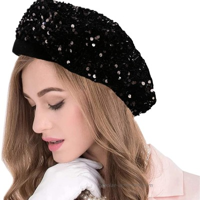 seven wolves Black Sequin Berets Women's Sparkly Sequin Shimmer Beret Hat French Style Beanie Hats Fashion Ladies Beret Caps Outdoor Hat Black at  Women's Clothing store