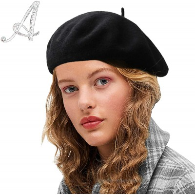 Sydbecs Wool Beret Hats for Women Ladies Girls French Barret Hat Solid Color Style Black at  Women's Clothing store