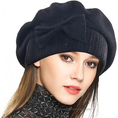 VECRY Women's 100% Wool Bucket Hat Felt Cloche Beret Dress Winter Beanie Hats Beret-Black at  Women's Clothing store