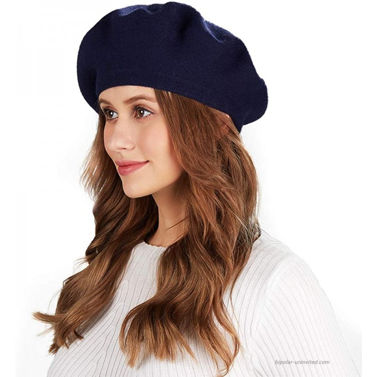 Women French Berets Hat Classic Winter Solid Color Warm Knit Beanie Hat Navy