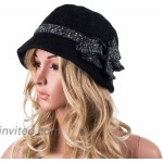 Womens 1920s Gatsby Wool Flower Band Beret Beanie Cloche Bucket Hat A374 Black at Women's Clothing store
