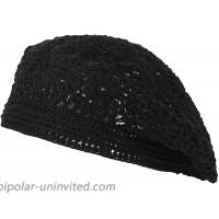 ZLYC Women Cotton Slouchy Crochet Beret Handmade Cutout Floral Beanie Hat Plain Black at  Women's Clothing store