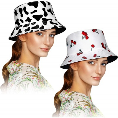 2 Pieces Print Beach Fisherman Hats Double-Side-Wear Reversible Bucket Hat Foldable Unisex Cap Cow Cheery Pattern Summer Cap for Women Men Outdoor Travel at  Women's Clothing store