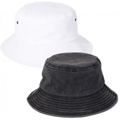 Bucket Hat Cotton Travel Beach Sun Hat Outdoor Cap Unisex Black White at  Women's Clothing store