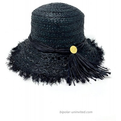 Cuckoo B Lucy Straw Frayed Bucket Beach Hat Black at  Women's Clothing store
