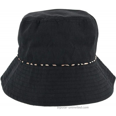 David & Young Women's Reversible Leopard Bucket Hat Black at  Women's Clothing store