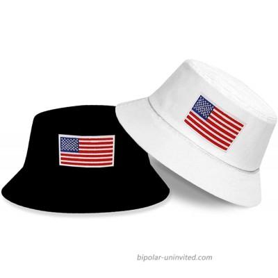 DYJKOUG American Flag Bucket Hat 2 Pack Embroidered Bucket Hat Summer Travel Beach Sun Hat Outdoor Visor Hat for Men and Women Black White at  Women's Clothing store