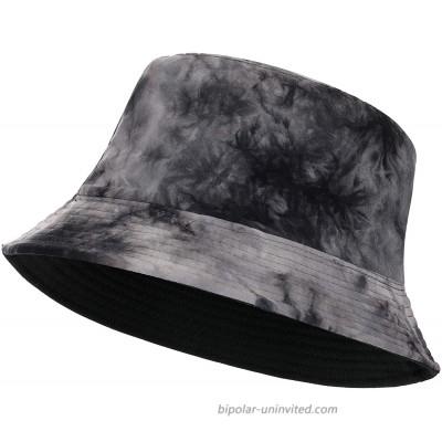 Feximzl Print Cotton Packable Summer Travel Bucket Beach Sun Hat Fruit Flower Pattern Hat 16.Tie-dye Black at  Women's Clothing store