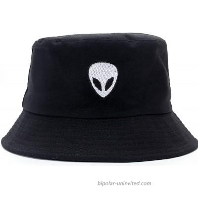 FPKOMD Bucket Hats for Women Men Pckable Sun Protection Fisherman Cap Outdoor Travel Anti-UV Visor Cap Black Alien at  Women's Clothing store