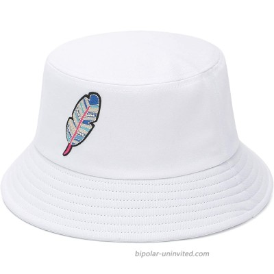 GEMVIE Bucket Hat for Womens Feather Embroidery Cotton Bucket Sun Hat Packable Fisherman Hat for Travel Outdoor White