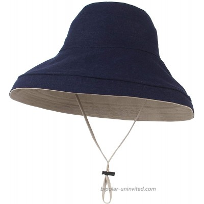 GEMVIE Womens Wide Brim Bucket Hat Reversible Solid Color Beach Sun Hats with Chain Strap Navy at  Women's Clothing store