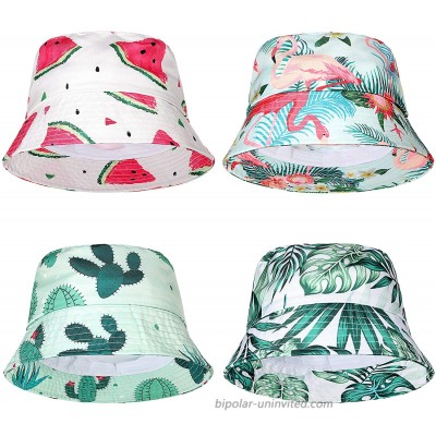 Geyoga 4 Pieces Bucket Hat Cotton Packable Travel Hat Washed Hawaii Beach Fishing Hat for Men Women Kids at  Women's Clothing store
