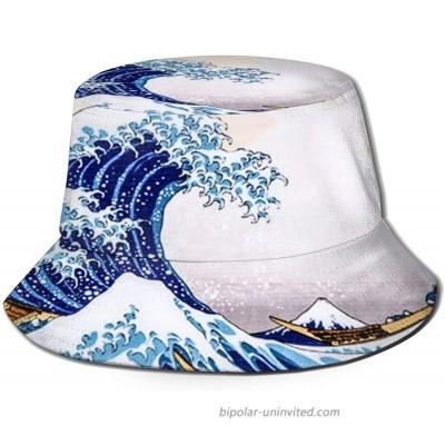 Gocerktr Unisex Wave Patern Bucket Hat Summer Fall Travel Fisherman Cap UV Protection Sun Hat for Fishing Safari Beach & Boating at  Women's Clothing store