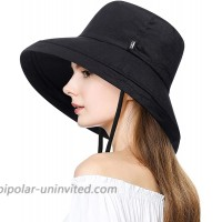 H.Busque Sun Hats Bucket Hat for Women with UV Protection Foldable Wide Brim Beach Safari Fishing Cap Black at  Women's Clothing store