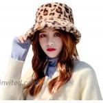 JUMISEE Women Girls Leopard Print Faux Fur Bucket Hat Fuzzy Warm Winter Hat Fisherman Cap Brown at Women's Clothing store