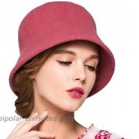 Maitose Women's Simple Wool Felt Bucket Hat Pink at  Women's Clothing store