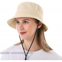 Mukeyo Womens Summer Bucket Hat Packable UV Protection Fisherman Sun Hats Outdoor Travel Beach Fishing Cap UPF50+ Beige at  Women's Clothing store
