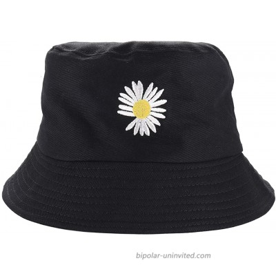 NLCAC Cotton Bucket Hats Floral Embroidery Summer Wide Brim Casual Sun Hat Black at  Women's Clothing store