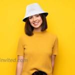 OCTEEN Bucket Hat Travel Bucket Hat 100% Cotton Sun Hat Unisex Beach Cap for Men Women Kid White Black at Women's Clothing store