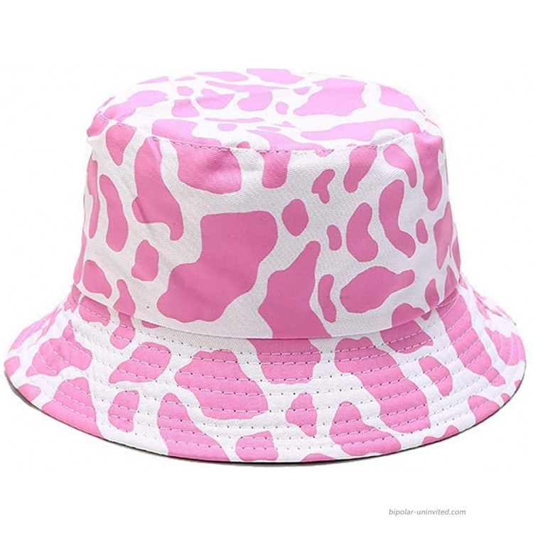 Quanhaigou Reversible White Pink Cows Pattern Prints Bucket Sun Hats Packable Double-Side-Wear Fisherman Outdoor Caps Summer Beach Hat at Women's Clothing store