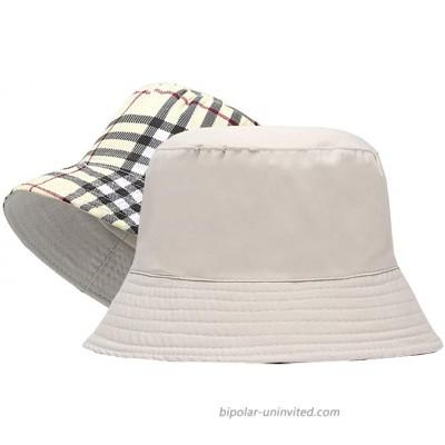 Reversible Plaid-Bucket Hats Women Sun Hat Fisherman-Packable Plaid 56-58cm Fit for Medium at  Women's Clothing store