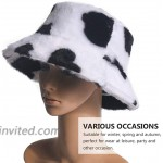 TENDYCOCO Bucket Hat Cow Pattern Faux Fur Fisherman Hat Packable Fluffy Hat Winter Hats for Men Women at Women's Clothing store