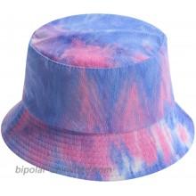 Tie-Dyed Fisherman Cap Unisex Packable Summer Travel Beach Outdoor Sun Hat Blue Pink