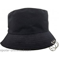 Unisex Bucket Hat Kpop Caps with Rings Fisherman-Cap with Iron Rings Black at  Women's Clothing store