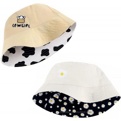 XANNOU 2 PCS Cotton Bucket Hats for Women Double-Side-Wear Flower Cow Beach Sun Bucket Hats for Women Teens Girls at  Women's Clothing store