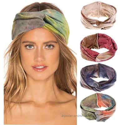 4Pcs Women Headband Cute Fashion Yoga Running Sport Athletic Travel Boho Knotted Headband Comfort Turban Criss Cross Twisted Head Wrap Hair Bands for Women Girls