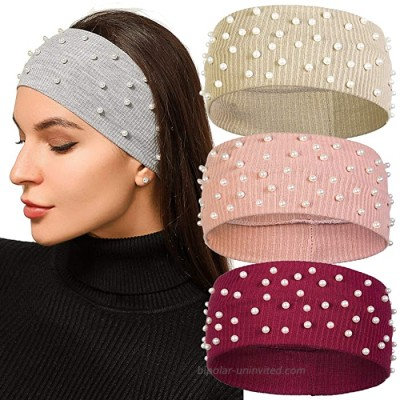AWAYTR Knitted Headband Winter Ear Warmer - 3Pcs Elastic Knit Ear Warmers with Pearls Winter Hair Band for Women Head Wraps Light Brown Pink Burgundy