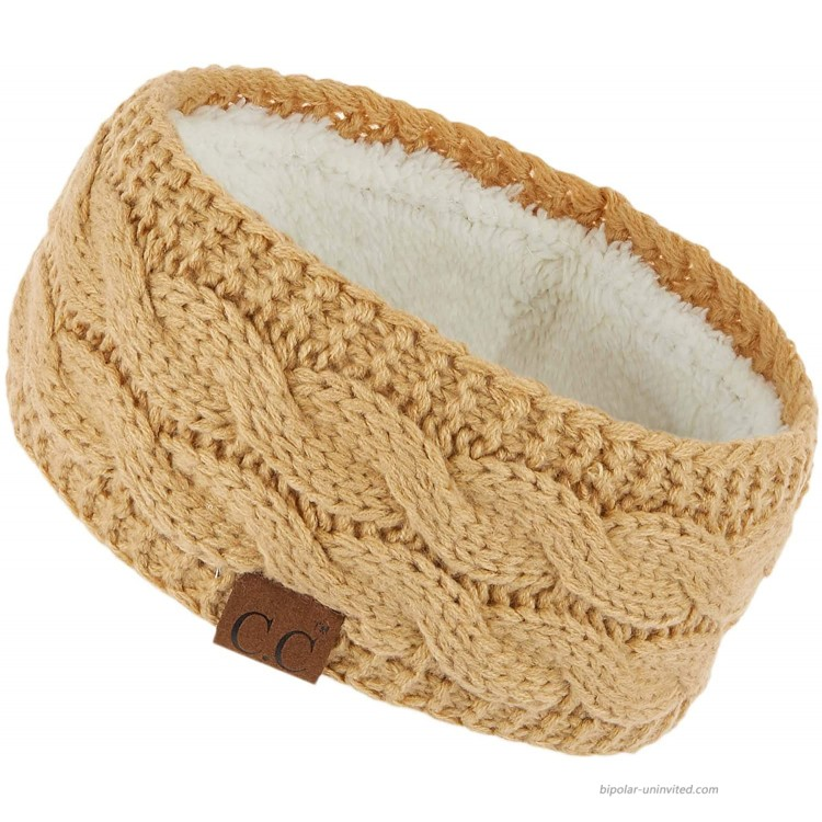 C.C Winter Fuzzy Fleece Lined Thick Knitted Headband Headwrap Earwarmer HW-20 Camel at Women's Clothing store